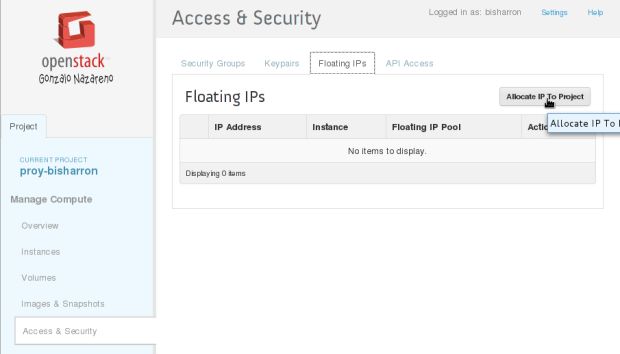 allocate floating IP 1
